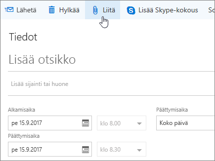 Näyttökuva Uusi kalenteritapahtuma -ruudusta, valittuna Liitä.