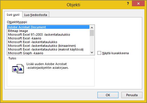 Luo uusi -välilehti Objekti-valintaikkunassa