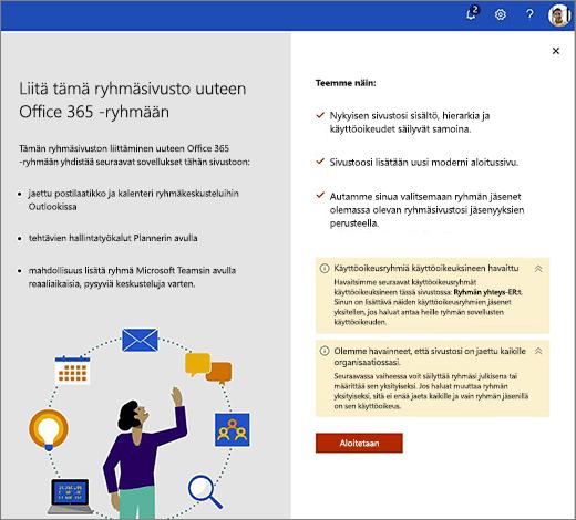 Tämä kuva näyttää uuden Office 365: n luominen ohjatun toiminnon ensimmäisessä näytössä.