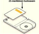 Tuoteavaimen pitäisi olla tarrassa kortissa, joka on pakkauksen sisällä kotelon vasemmalla puolella levypidikettä vastapäätä