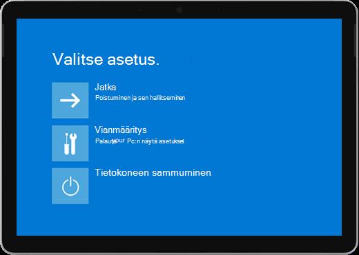Sininen näyttö, jossa on vaihtoehtoja tietokoneen jatkamista, vianmääritystä tai sammumista.