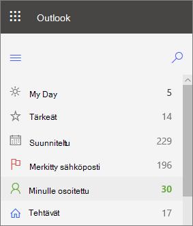 Näyttö kuva Outlook for Web-tehtävien vasemmasta siirtymis ruudusta, joka on määritetty minulle heti merkityn Sähkö posti viestin jälkeen