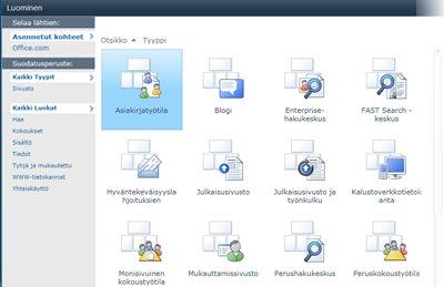 SharePoint-sivustomalli