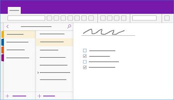 Näyttää OneNote for Windows 10 -ikkunan