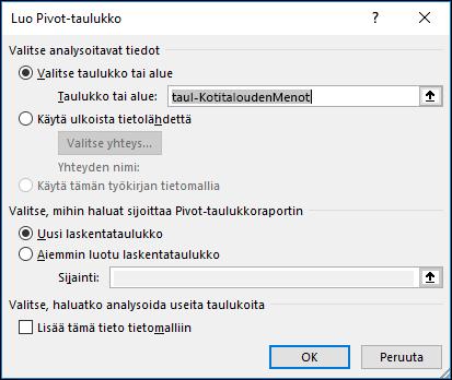 Excelin Luo Pivot-taulukko -valintaikkuna