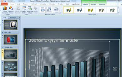 Kaaviotyökalut-välilehti tulee näkyviin, kun napsautat kaaviota.