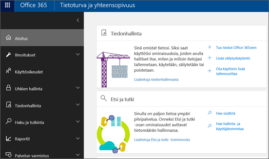 Office 365:n tietoturva- ja yhteensopivuuskeskuksen aloitussivu