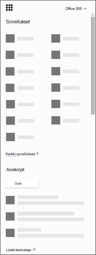 Office 365-sovellusten käynnistin