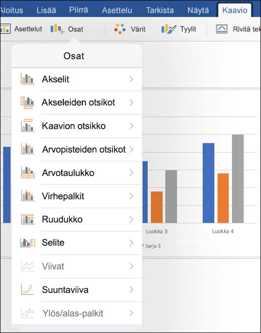 Voit muokata tiedoston kaavioelementtejä valitsemalla valintanauhan Kaavio-välilehdestä Elementit.