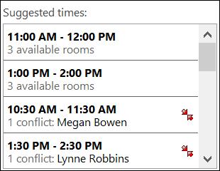 Käytä ehdotettuja aika-valitsinta, kun haluat nähdä, milloin osallistujat ovat käytettävissä.