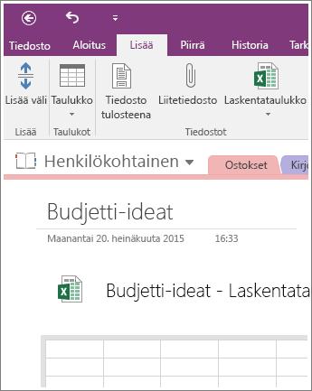 Näyttökuva uudesta laskentataulukosta OneNote 2016:ssa.