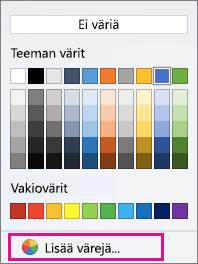 Sävytyksen väriasetukset Lisää värejä -vaihtoehto korostettuna.