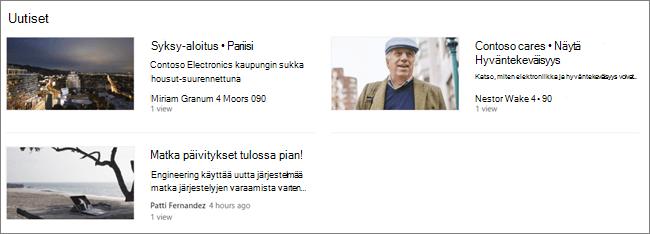 SharePoint-sivuston Uutisverkkoosan screencap, jossa viestit on suodatettu