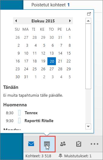 Kalenterin pikanäkymä, jossa näkyy Kalenteri-kuvake korostettuna