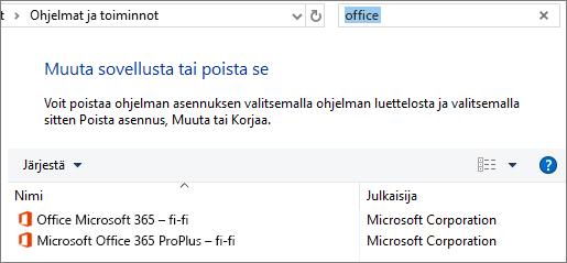 Näyttää kaksi asennettua Office-kopiota Ohjauspaneelissa