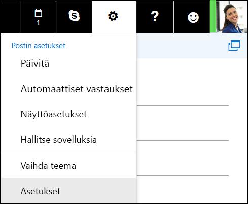 Outlookin verkkoversio, asetusvaihtoehdot