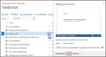 SharePoint-kirjaston tiedoston jakaminen