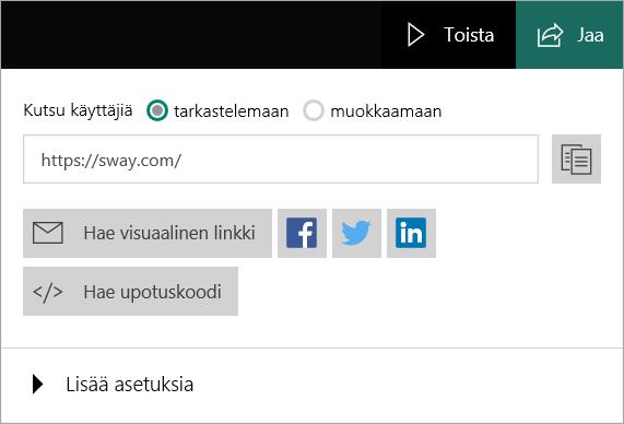 Swayn jakaminen Microsoft-tilistä