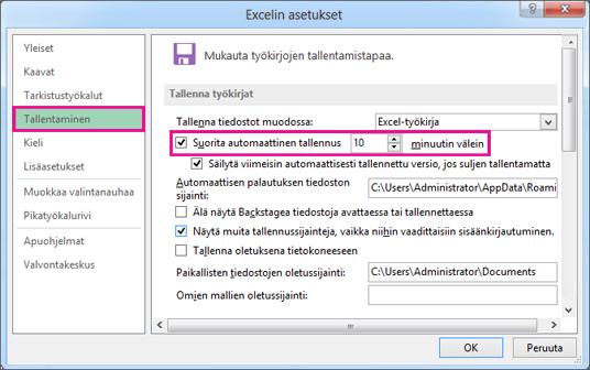 Excelin asetukset -ikkunan Tallenna-vaihtoehto
