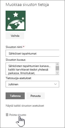 SharePoint-ryhmäsivuston sivuston poiston sijainti