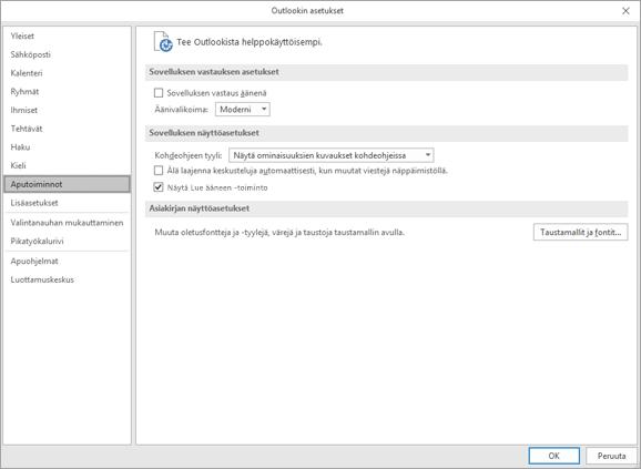 Outlook-asetusten Helppokäyttötoiminnot
