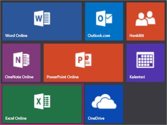 Napsauta Office.comin Excel Online -ruutua.