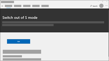 Näyttökuva siitä, kun siirrytään pois S mode -tilasta