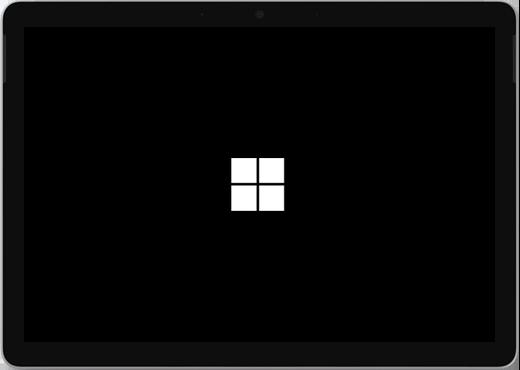 Musta näyttö, jonka keskellä on Windows-logo.