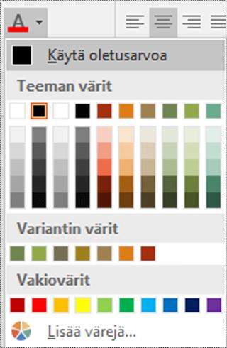 Fontin väri -valikko Visiossa.