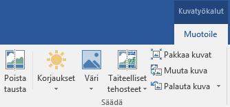 Office 2016:n valintanauhan Kuvatyökalujen Muotoile-välilehti, jossa näkyy Poista tausta -painike
