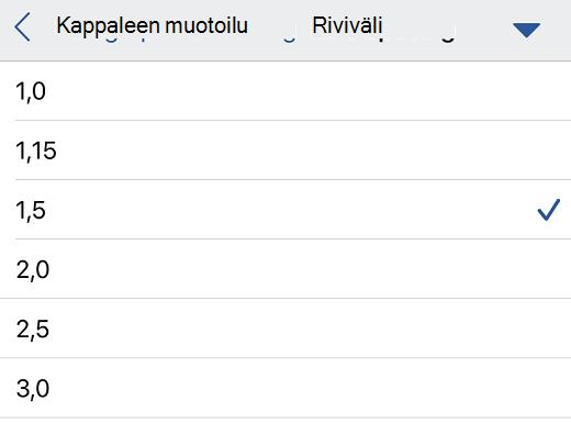 Riviväliasetukset Word for iOS:ssä.