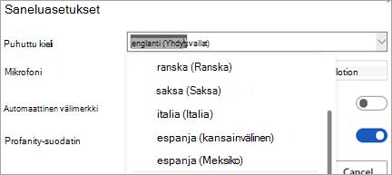 Kielet, joilla voit sanella