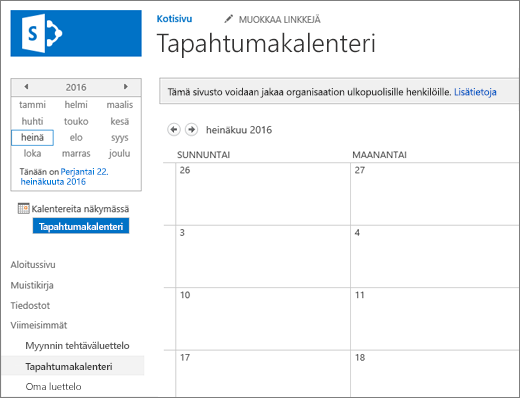 Esimerkki kalenteriluettelosovelluksesta