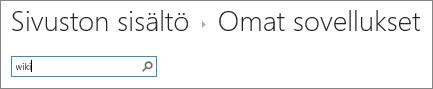 Sovelluksen hakukenttä, johon on kirjoitettu sana Wiki.