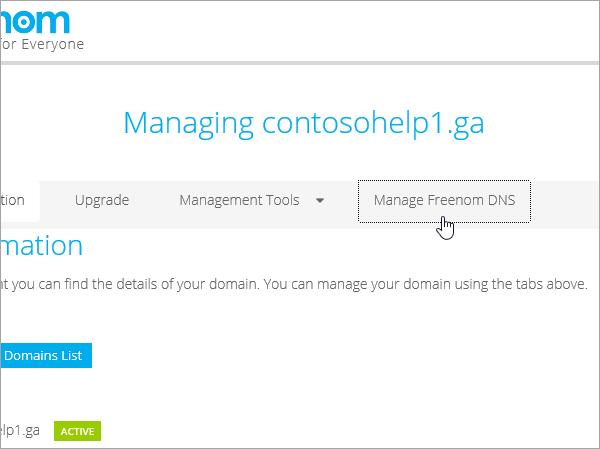 Freenom choose Manage Freenom DNS_C3_2017530144245