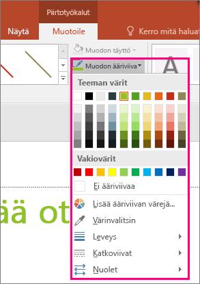 Officen viivan väriasetukset