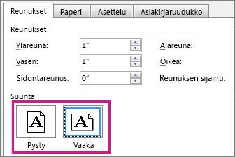 Sivun asetukset -ruudun Pysty- ja Vaaka-painikkeet.