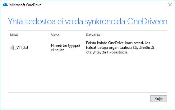 onedrive-tiedostoa ei voida synkronoida