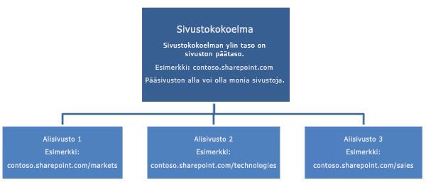 Sivustokokoelman hierarkkinen kaavio, jossa näkyy pääsivusto ja alisivustot.