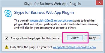Luota Skype for Business Web Appin laajennuksen toimialueeseen