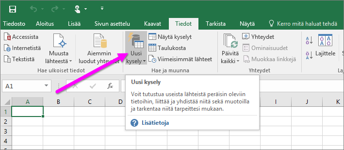 Excel 2016:n Uusi kysely