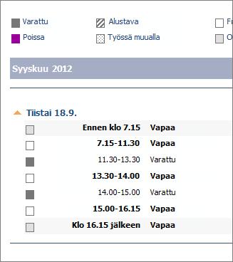 Esimerkki sähköpostiviestillä jaetusta kalenterista
