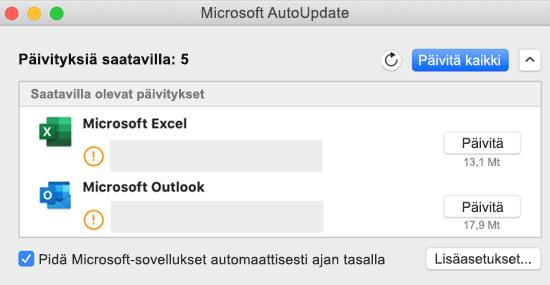 Kuva Microsoftin automaattisen päivityspalvelun koontinäytöstä, jossa on tietoja päivityksistä.