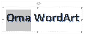 Osittain valittu WordArt-teksti