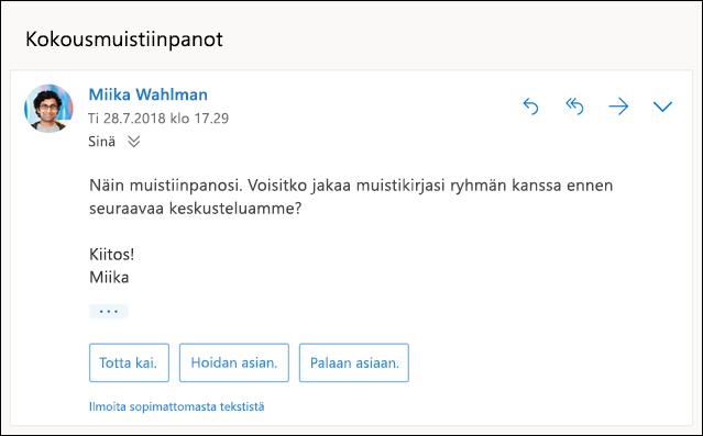 Ehdotettu vastauksia sisältävän sähköposti