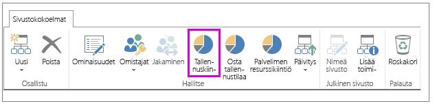 Tallennuskiintiö-painike on korostettuna Sivustokokoelmat-välilehdessä
