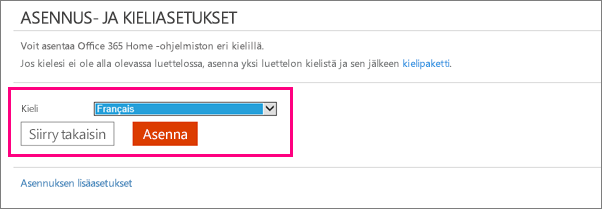 Näyttää Asenna kieli -näytön Office 365:n tilinhallinnassa