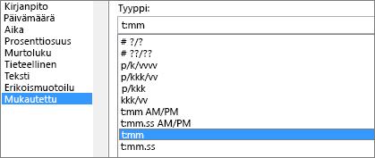 Muotoile solut -valintaikkuna, Oma-komento, laji t:mm