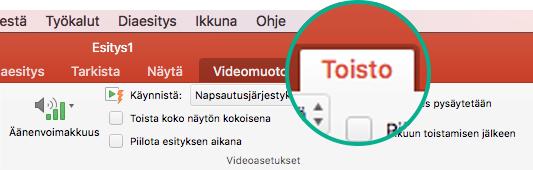 Kun video on valittuna diassa, työkaluriville tulee näkyviin Toisto-välilehti, jonka avulla voit määrittää videon toistoasetuksia.