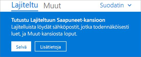 Kuva siitä, miltä Lajiteltu Saapuneet-kansio näyttää, kun käyttäjä avaa Outlookin verkkoversion ensimmäistä kertaa.
